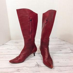 Costume National Kitten Heel Oxblood Leather Boots